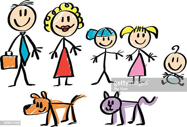 strichmännchen familie - strichmännchen stock-grafiken, -clipart, -cartoons und -symbole