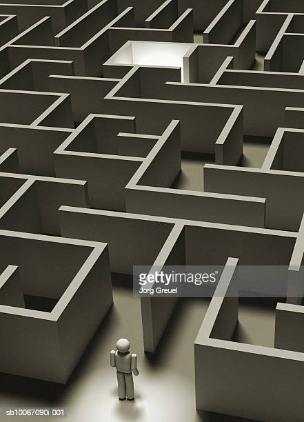 stick figure in maze - stick figure stock illustrations