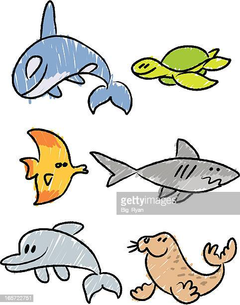 stick figure sea life - killer whale stock illustrations, clip art, cartoons, & icons