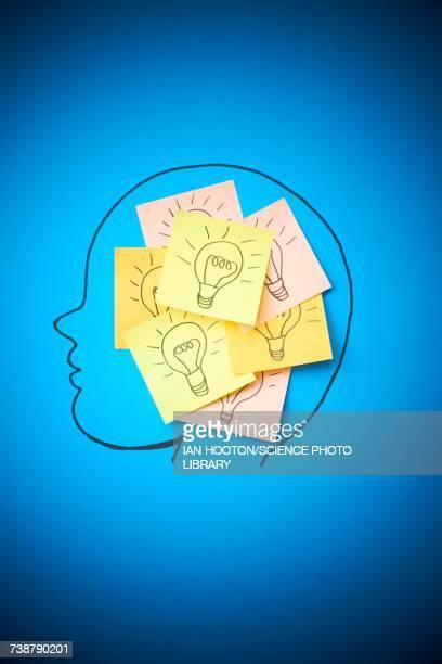 illustrazioni stock, clip art, cartoni animati e icone di tendenza di sticky notes with light bulbs - human face