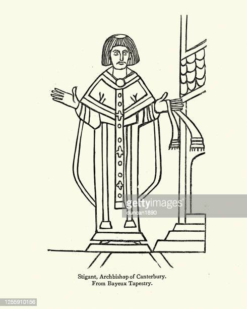 stigand, archbishop of canterbury, wearing chasuble - normandy stock illustrations