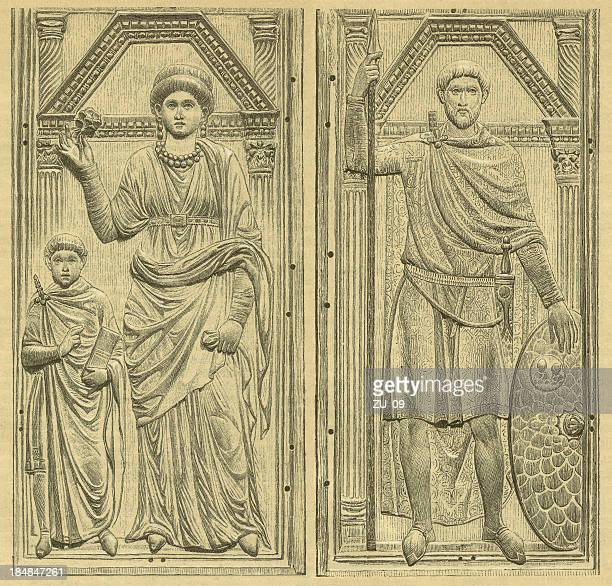 stilicho and serena - bas relief stock illustrations