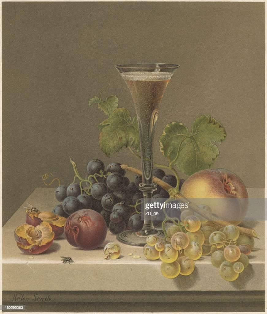 Still life, by Helen R. Searle (1830-1884), lithograph, published 1871 : stock illustration