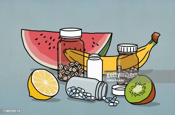 still life fruit and supplement medication bottles - food and drink stock illustrations