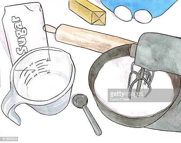 still life of a bakers tools - egg beater stock illustrations, clip art, cartoons, & icons