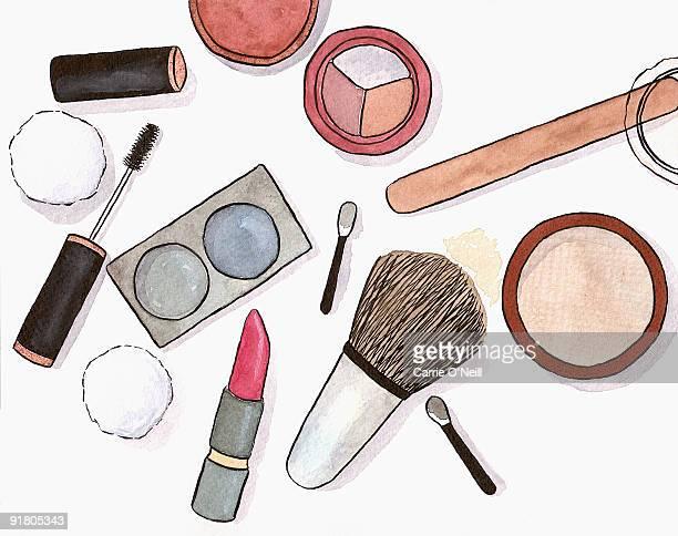 still life of a make up artists tools - powder paint stock illustrations