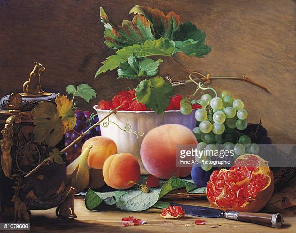 a still life of figs, peaches, pomegranates and raspberries - painted image stock illustrations