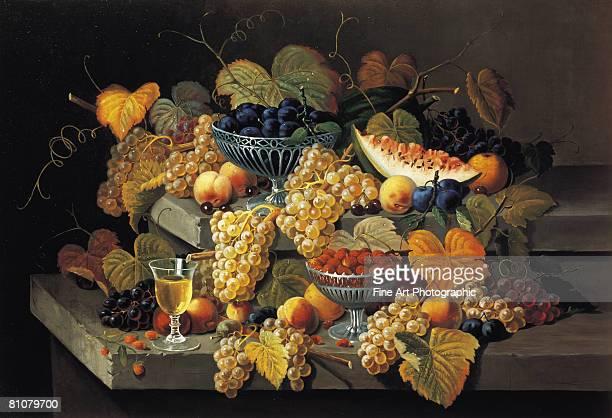 illustrazioni stock, clip art, cartoni animati e icone di tendenza di a still life of melon, cherries and strawberries - still life