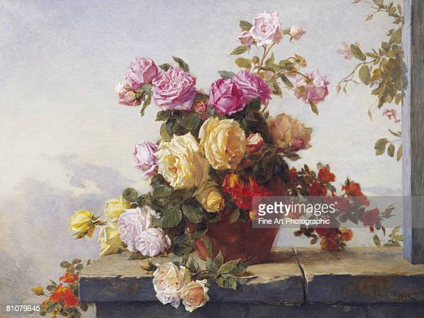 a still life of roses - painted image stock illustrations