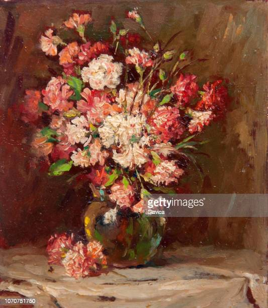 illustrazioni stock, clip art, cartoni animati e icone di tendenza di still life oil painting showing colorful flowers in the vase - dipinto