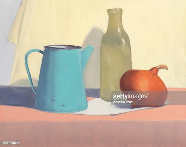 still life on canvas - still life stock illustrations