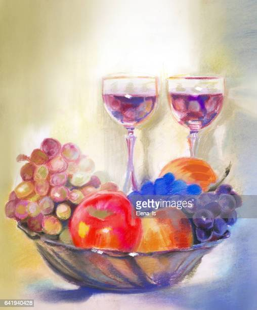 still life painted pastel. grapes and apple. two glasses with wine and fruit