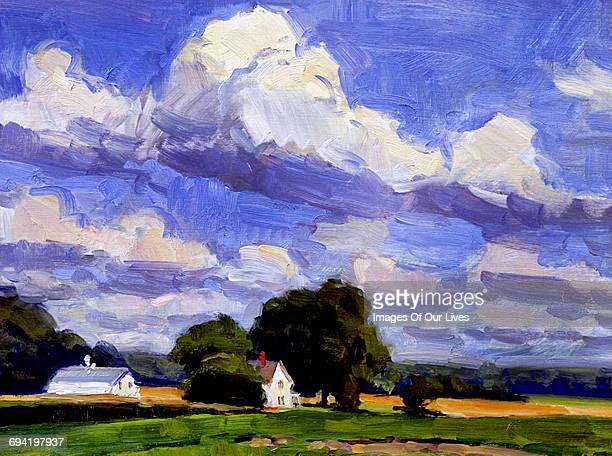 still life painting blue skies with white clouds - painted image stock illustrations