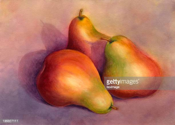 Still life painting of a trio of pears