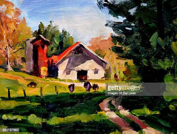still life painting rural barn and silo - 油絵点のイラスト素材/クリップアート素材/マンガ素材/アイコン素材