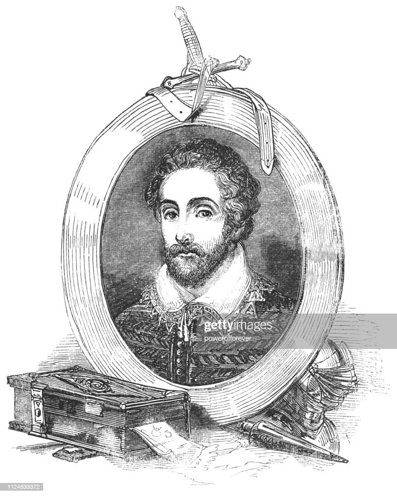 Still Life Portrait of Edmund Spenser : stock illustration