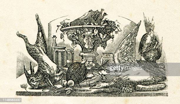 still life table served with food rabbit duck marmalade 19th century - marmalade stock illustrations, clip art, cartoons, & icons