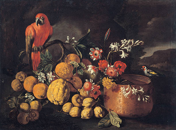 Still Life with Citrus (Fruits), Copper Kettle, Flowers and Parrot, by Ruoppolo Giuseppe, 17th Century, oil on canvas