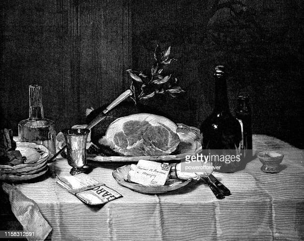 still life with ham by philippe rousseau - 19th century - french food stock illustrations