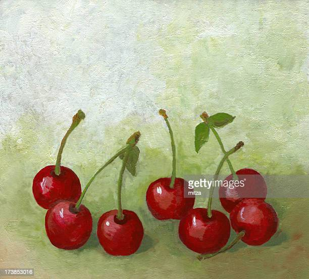 Still Life with Oil Painted Cherry Fruit