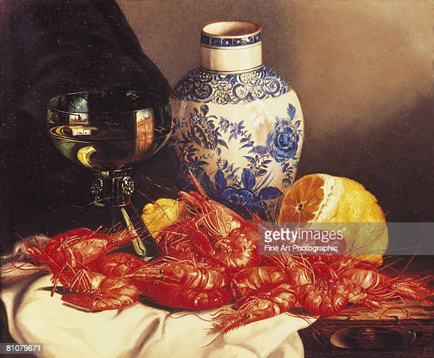 still life with prawns - painted image stock illustrations