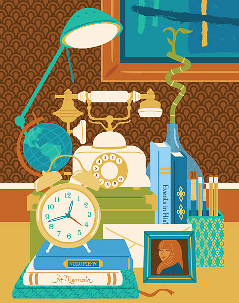 Still life with telephone, globe, clock, and books