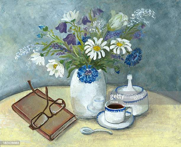 Still Life with Wild Flowers,Coffe and Book