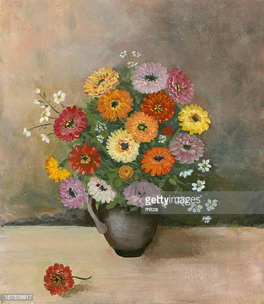 still life with zinnia flowers on textured grey background - vase stock illustrations, clip art, cartoons, & icons