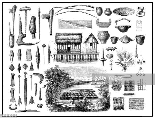 stilt houses and objects from the bronze age. landscape: visualization of a pile dwellings in the zurich lake after architectural finds in the mid-19th century - archaeology stock illustrations