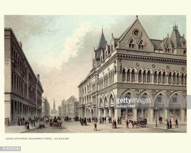 証券取引所、ブキャナン通り、グラスゴー、19 世紀 - vintage stock点のイラスト素材/クリップアート素材/マンガ素材/アイコン素材