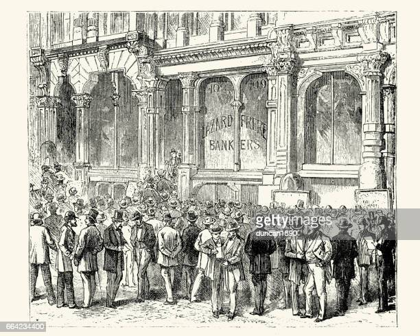 Stock gambling outside a bank in San Francisco, 19th Century