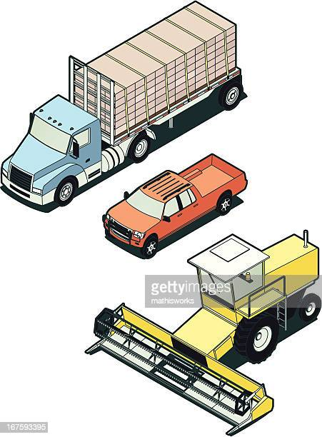 Stock Isometric Farm Vehicles