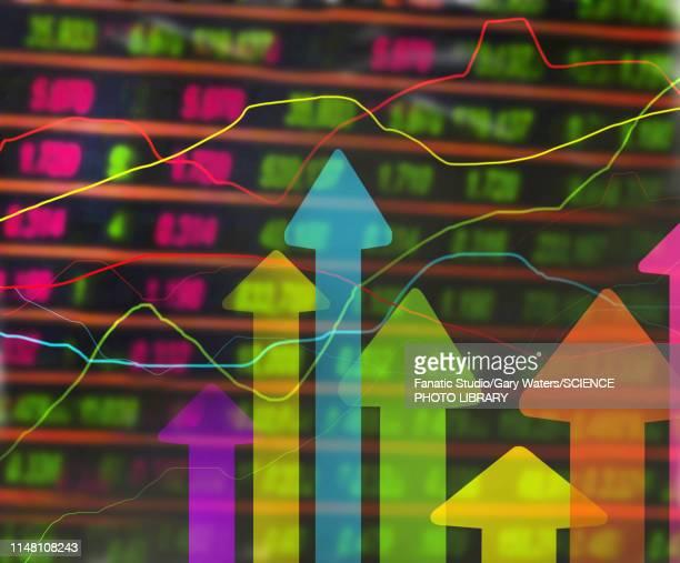 stock market, conceptual illustration - graph stock illustrations