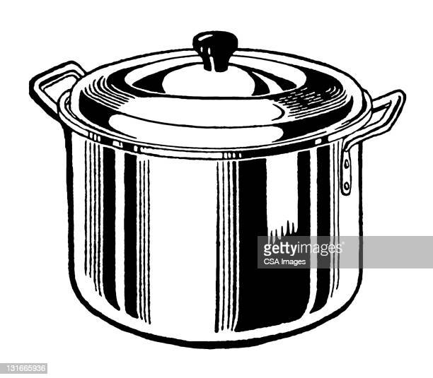stock pot - stew pot stock illustrations
