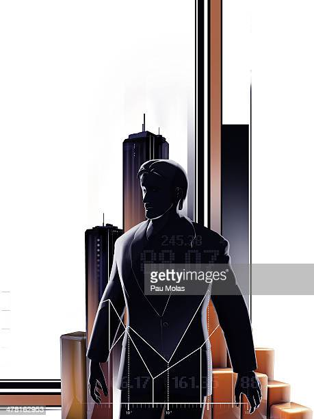 A stock trader standing in a city