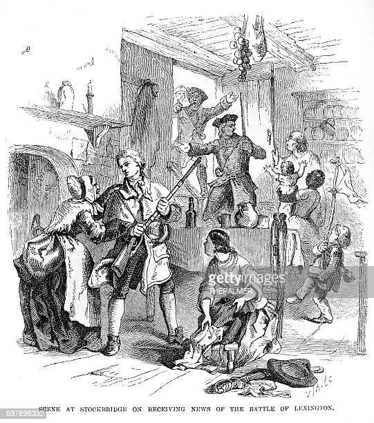 stockbridge receiving news engraving 1859 - declaration of independence stock illustrations, clip art, cartoons, & icons