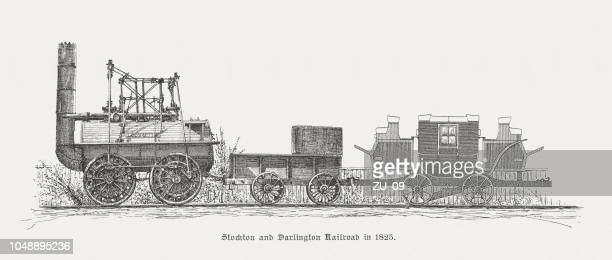 stockton and darlington railway in 1825, wood engraving, published 1885 - san joaquin valley stock illustrations