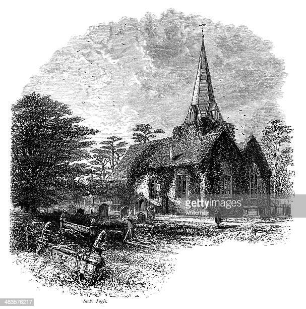 stoke poges church, buckinghamshire, england - spire stock illustrations, clip art, cartoons, & icons