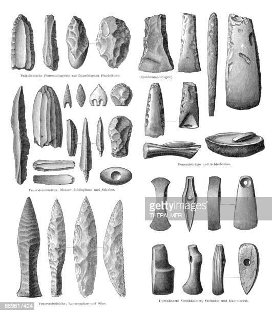 stone age tools engraving 1895 - paleolitico stock illustrations