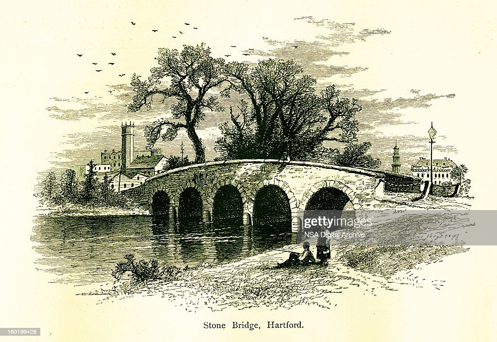 Stone bridge in Hartford, Connecticut : stock illustration