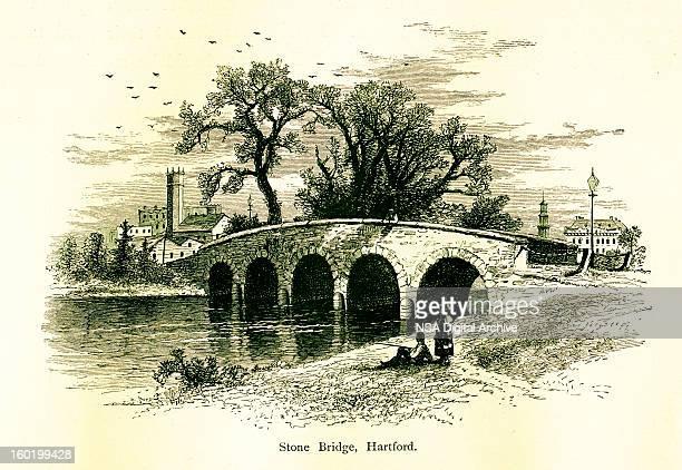 stone bridge in hartford, connecticut - connecticut river stock illustrations, clip art, cartoons, & icons