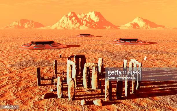 stone circle on surface of mars. - megalith stock illustrations, clip art, cartoons, & icons