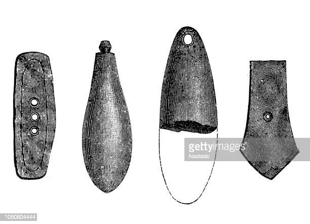 stone device, made by rubbing and grinding. - antiquities stock illustrations