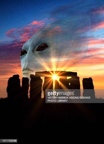 stonehenge and alien, conceptual illustration - history stock illustrations
