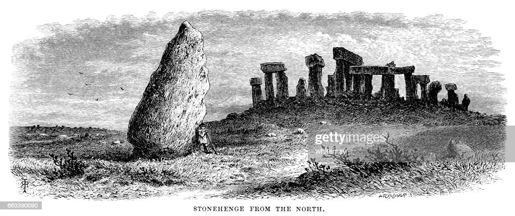 Stonehenge from the North (Victorian engraving) : stock illustration