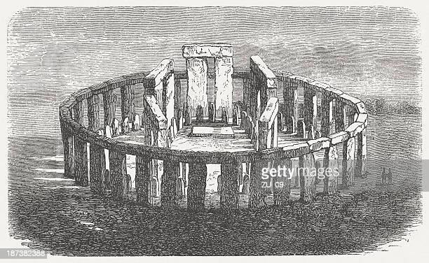 Stonehenge, World Heritage Site in England, wood engraving, published 1876