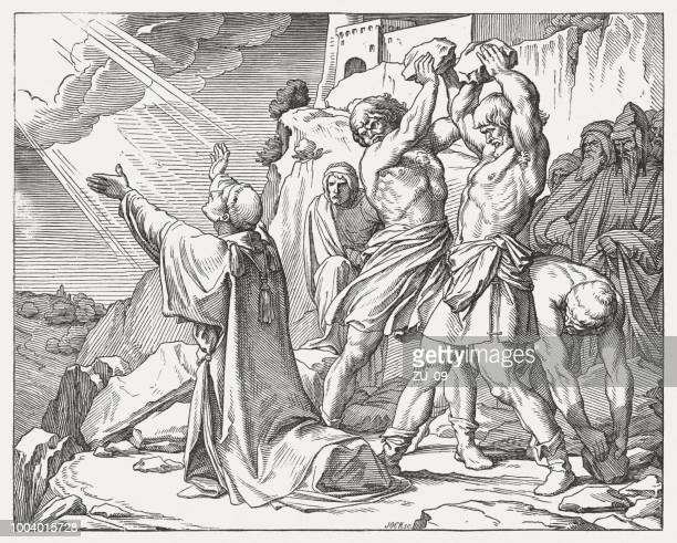 stoning of stephen (acts 7, 54-60), wood engraving, published 1890 - stehen stock illustrations