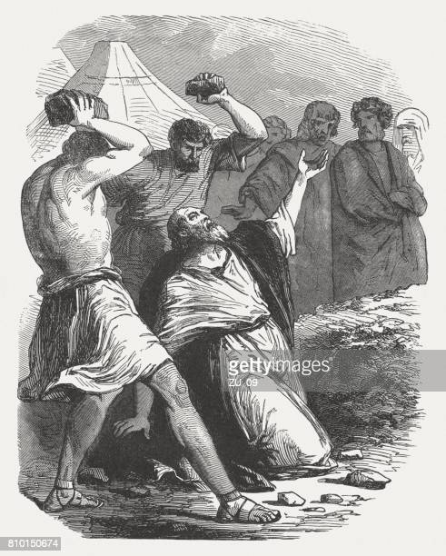 Stoning of the Sabbath breaker (Numbers 15, 32-36), published 1886