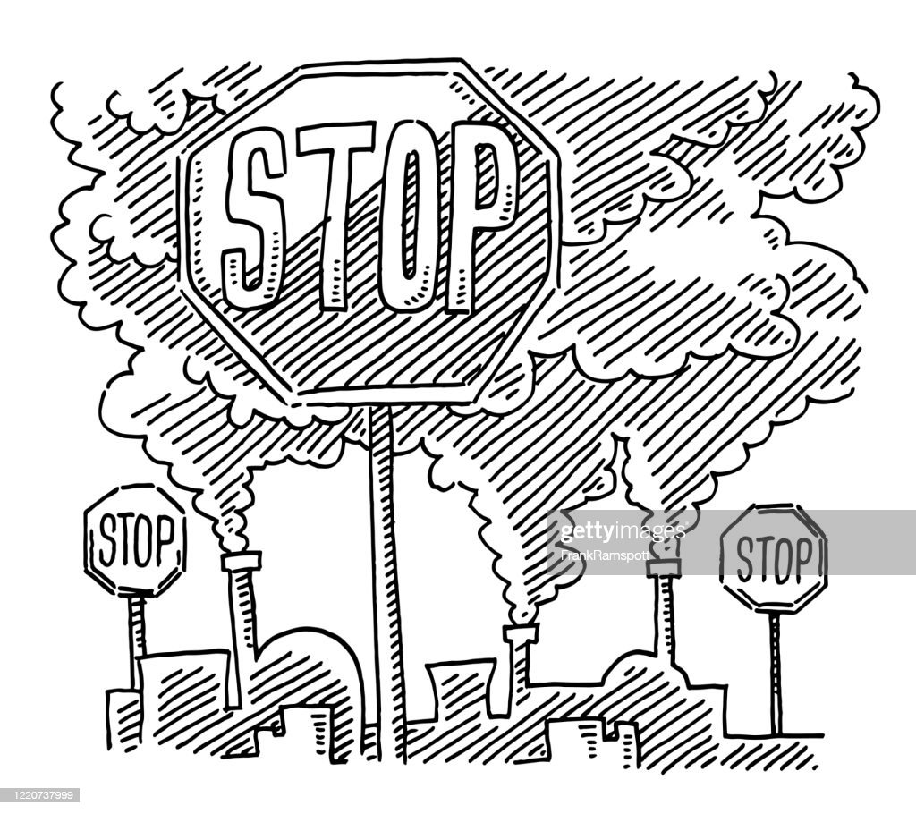 Stop Sign Air Pollution By Coal Industry Drawing High Res Vector Graphic Getty Images