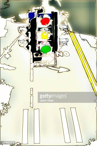 stoplight - zebra crossing stock illustrations